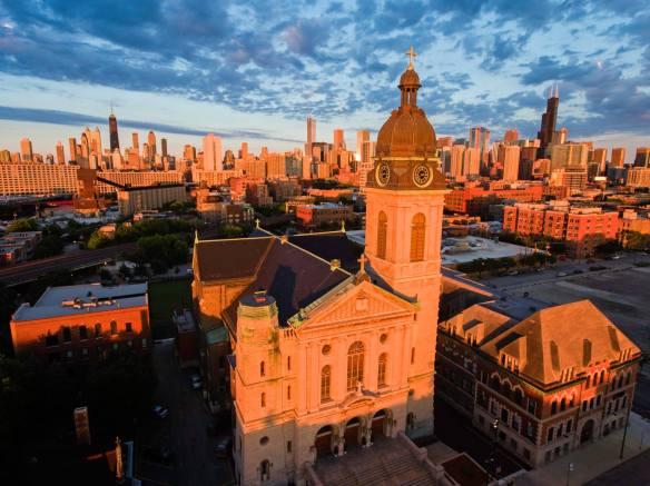 cantius-church-chicago-sunset