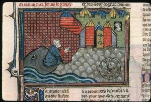Jonas rejeitado pela baleia diante de Nínive
