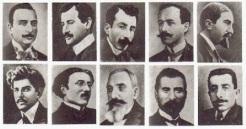 Alguns intelectuais armênios presos em 24 de abril de 1915; nas semanas seguintes foram deportados e mortos