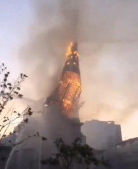 Igreja da Assunção queimada no Chile em 18/10/2020